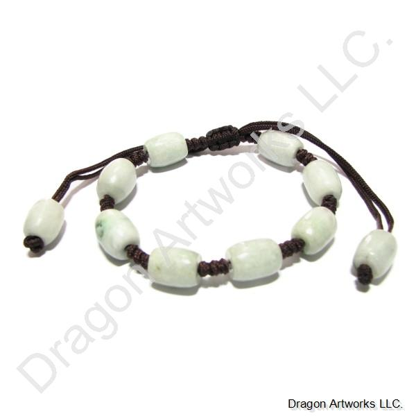 Adjustable Light Green Jade Bead Bracelet